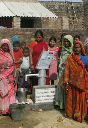 "AIM provides ""Living Water Wells"" in places where no wells exist. Help by drilling a well now"